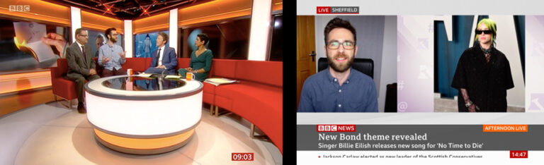 Andrew Swarbrick live on BBC Breakfast sofa and via satellite link talking about Billie Eilish's James Bond theme song for 'No Time To Die'